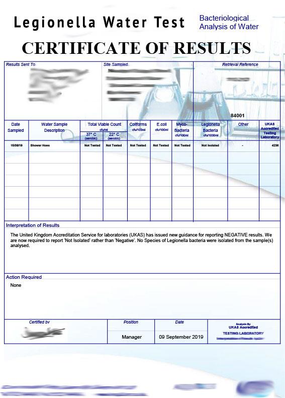 legionella water test certificate